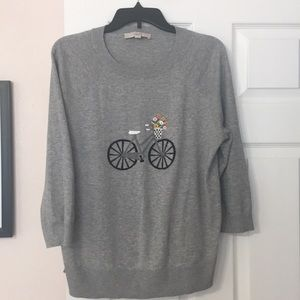Loft grey 3/4 sleeve sweater with bicycle motif